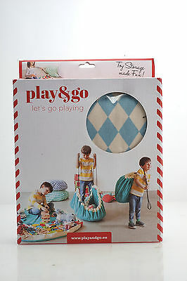 """Play & Go Toy Storage Bag Play Mat all in One Diamond Blue Pattern 140cm 55"""""""