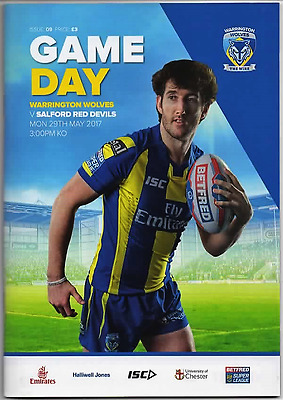 2017-Warrington-Wire V Salford Red Devils -29/5/17-Rugby Super League Programme