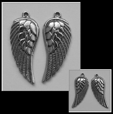 PEWTER CHARM #278 x 2 ANGEL WING 40mm x 17mm ( matching pair wings )