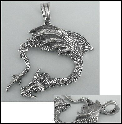 PEWTER CHARM #419 DRAGON 51mm x 50mm LARGE LOOP / BAIL