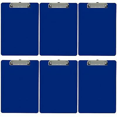 Plastic Clipboard Opaque Letter Size Low Profile Clip (Pack of 6) (Dark Blue)