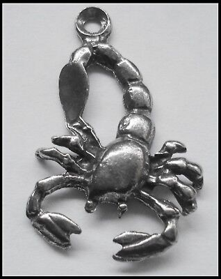 Pewter Charm ZODIAC #1533 SCORPIO (Oct 24 - Nov 21) 20mm x 30mm