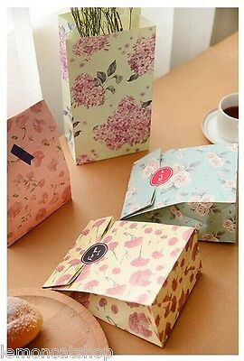 Floral Paper Bags 4pc Flower crafty flat bottom party favour giveaway treat bag