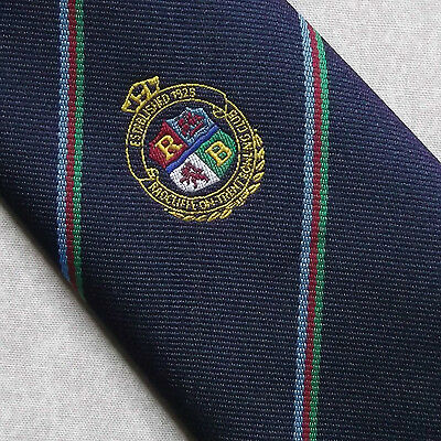 Radcliffe On Trent Bowling Club Tie Vintage 1960's 1970's Navy Nottingham