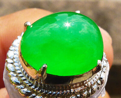 High Grade Untreated Beautiful Green Jadeite Jade Type A Transparent Cabochon