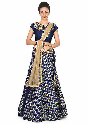 LAtest Indian Bollywood Designer Navy Blue Party Wear Lehenga Choli Ghagra choli