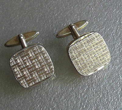 VINTAGE CUFFLINKS 1960s 1970s MOD PALE GOLDTONE METAL MODERNIST DESIGN