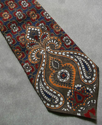 1960s 1970s TIE REAL SUEDE LEATHER VINTAGE PSYCHEDELIC PATTERNED WIDE PSYCH MOD