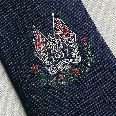 Queens Silver Jubilee 1977 Vintage Tie Navy Blue 1970's Royal By John Collier