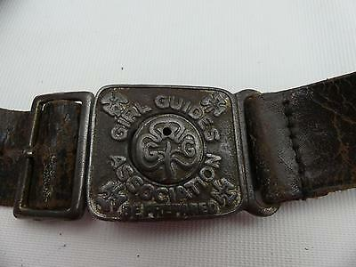(Ref165CF) Antique Vintage Girls Guides Leather Belt and Whistle