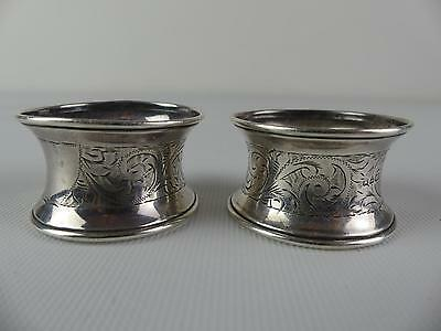 (Ref165BC) Pair of Antique Silver Napkin Rings Hallmarked Chester 1923