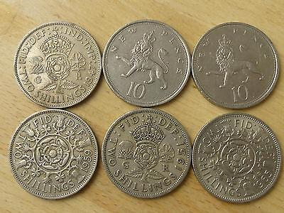 (ref165) Set of Six 2 shillings shilling 10p coins from 50s 60s 70s