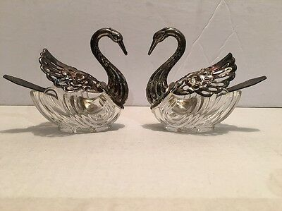 Vtg Set Of 2 Antique Italian Made Swans Silver Plate Glass Sugar Bowl Spoons