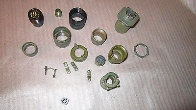 Lot of 17 parts for circular connector plug - mixed brands Amphenol Cannon Bendi