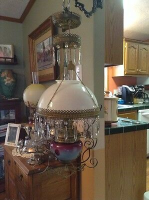 Absolutely beautiful Victorian hanging converted oil lamp light electric