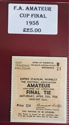 1958  F.A. AMATEUR CUP FINAL MATCH TICKET-  WOKING  vs. IFLFORD @ WEMBLEY