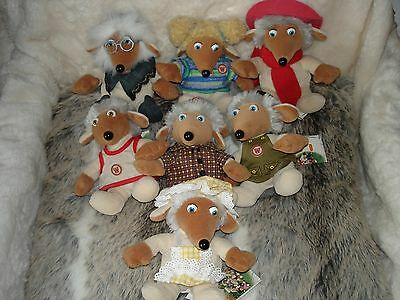 Set of 7 Vintage Beanie Wombles from Golden Bear of Telford