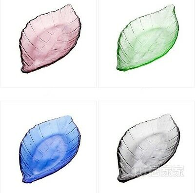 1PC Glass leaves dish coloured