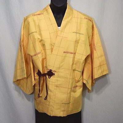 "Vintage Japanese Dochugi Silk Kimono Jacket Casual Cover Up ""Crisp and Clean"""