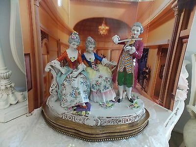 Vintage Volkstedt Germany Dresden Porcelain Figural Group Figurine Music Box