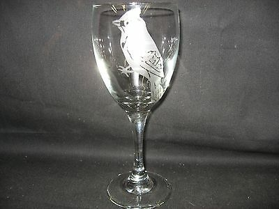 New Etched Blue Jay Wine Glass