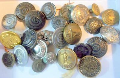 Lot of 25 Vintage Uniform Buttons, Police, MotorMan, Prince of Wales, POD, More
