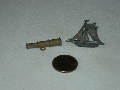 Cracker Jack Metal Prizes; Sailboat and Spyglass; Lot of 2