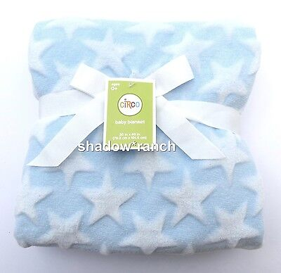 Circo Light Blue Stars Fleece Baby Blanket Soft Embossed Target Lovey NWT NEW