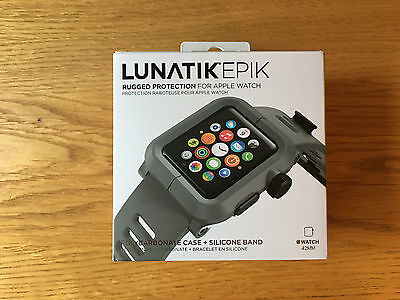 !! LUNATIK EPIK 42mm APPLE WATCH STRAP - GREY - BRAND NEW - NEVER WORN !!