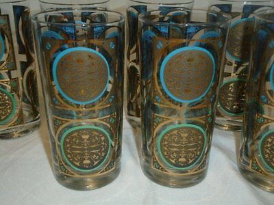 Set 8 Lovely Vtg MCM Metallic Gold Blue Green Drinking Glass Tumblers Excellent