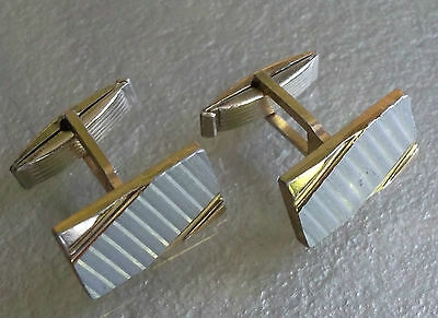 VINTAGE CUFFLINKS 1960s 1970s MOD SILVER & GOLDTONE LIGHTWEIGHT PATTERNED METAL
