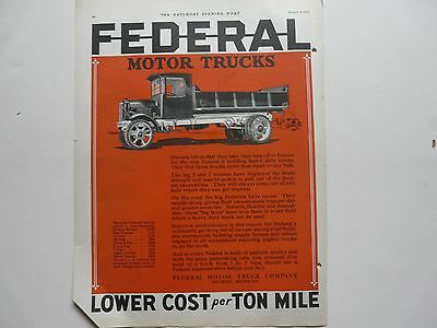 Vintage Federal Motor Truck Ad 1920's