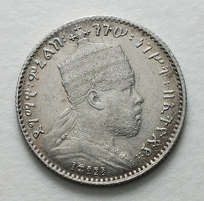 1889   Ethiopia  One Gersh  silver  coin   King Menelik