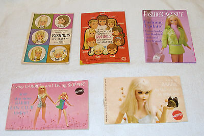 5 Mattel Barbie Books, Fashions, Fashion Avenue, Living Barbie & Living Skipper
