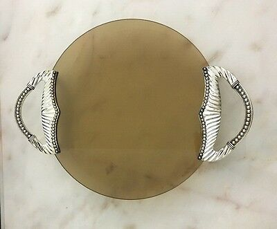Belk Silver Plated Decorative Tray with Amber Glass New in Original Box