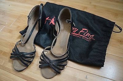 Very Fine Dancesport Black Leather Latin Rhythm Salsa shoes 8 1/2