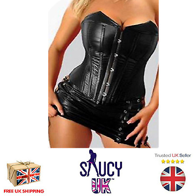 Leather Corset With Lace-Up Skirt - UK SELLER