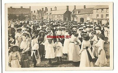 Busy Social Gathering Market Square? But Where? Real Photo Vintage Postcard 29.5