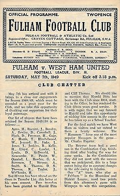 Fulham v West Ham 1948/9 - Football Programme