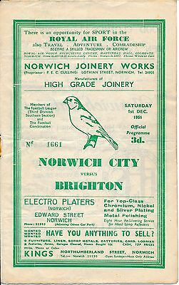 Norwich v Brighton 1951/2 - Football Programme