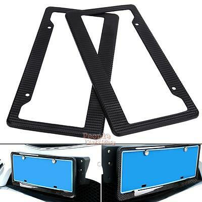 2Pcs Carbon Fiber Pattern Auto Car Truck License Plate Frames ABS Tag Covers