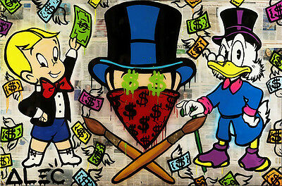 Alec Monopoly Oil Painting on Canvas Urban art Wall Decor Phillip Plein 28x48""