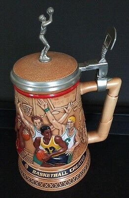 """""""A Century Of Basketball Stein"""" Embossed & Lidded 1993 Avon Hand Crafted Brazil"""