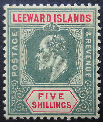 Leeward Islands 1907 KEVII 5s  Green & Red/Yellow  MH  Sc 40  SG 45