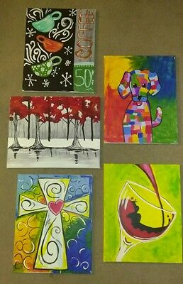 """Lot of five 16""""x20"""" acrylic paintings on canvas - handpainted"""