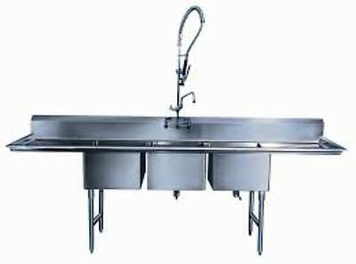 18 x 18 x 12 Three Bay Sink w/ Sprayer & Faucet 3 Compartment with 2 Drainboards