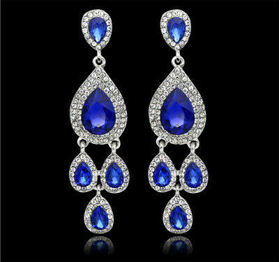 Pageant Blue Austrian Rhinestone Crystal Chandelier Dangle Earrings Prom Wed E9