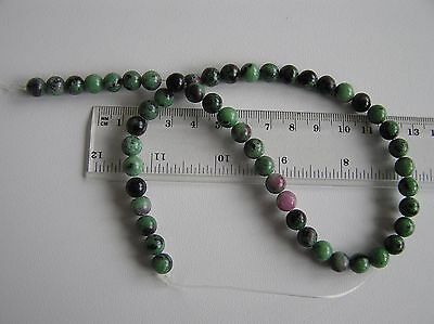 Hilo de Rubí en Zoisita natural de 8mm  GENUINE  RUBY ZOISITE 8MM BEADS STRAND