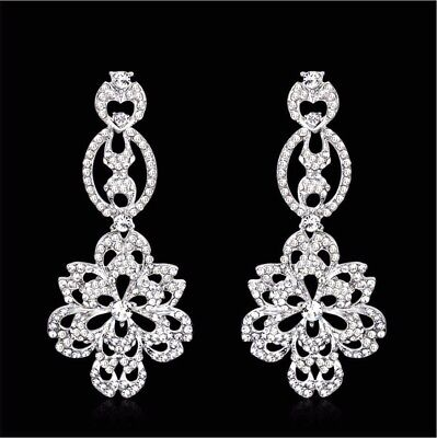 Daisy Clear Austrian Rhinestone Crystal Chandelier Dangle Earrings Prom Wed E10