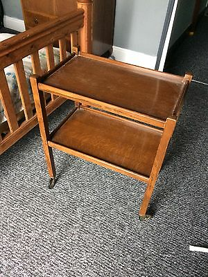 Tea Trolley vintage wooden two layers on casters ideal shabby chic project